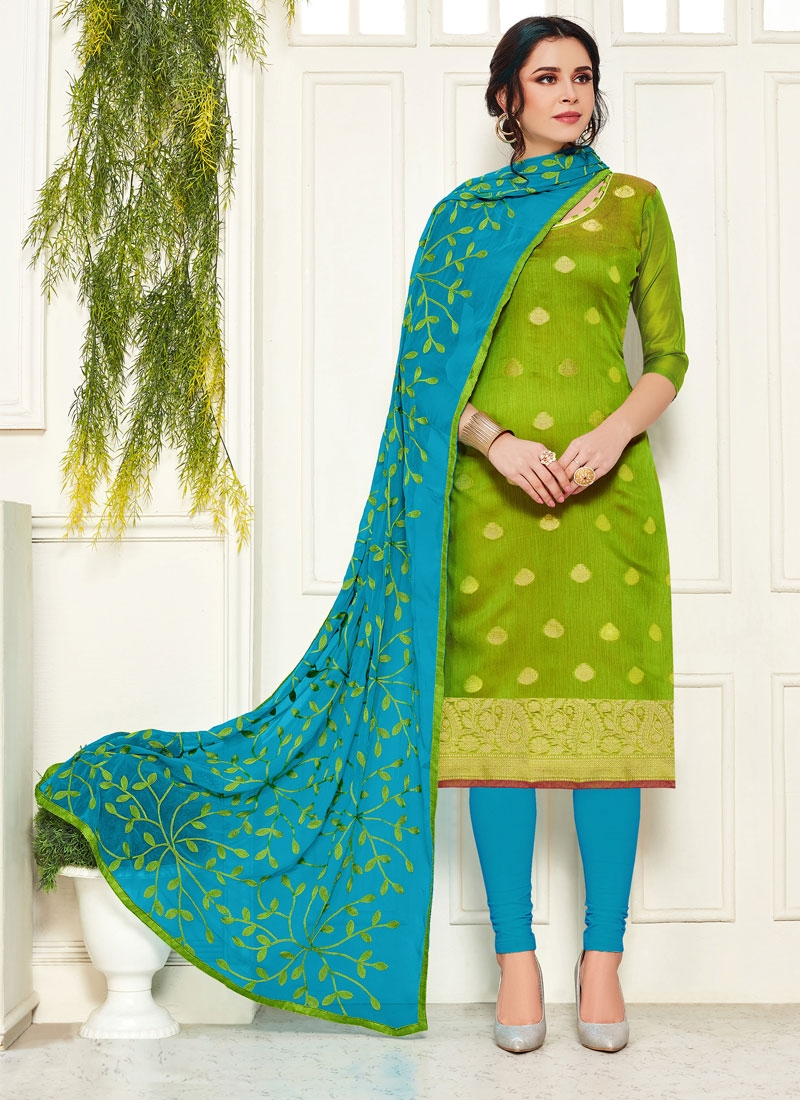 Light Blue and Olive Banarasi Silk Trendy Churidar Salwar Kameez For Casual