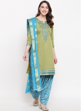 Light Blue and Olive Trendy Patiala Salwar Suit