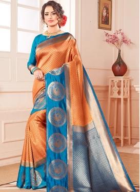 Light Blue and Orange Kanjivaram Silk Classic Saree