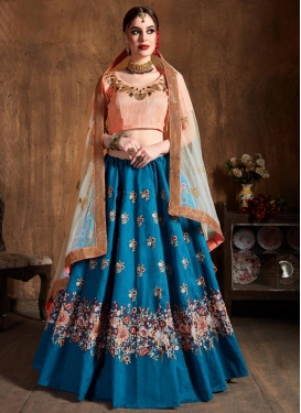 Light Blue and Peach Embroidered Work Lehenga Choli