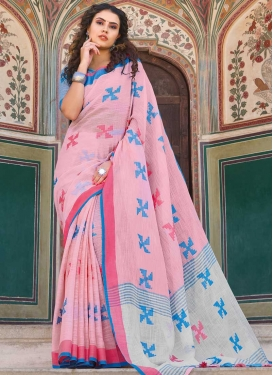 Light Blue and Pink Linen Trendy Classic Saree