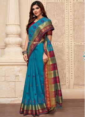 Light Blue and Red Art Silk Designer Contemporary Saree