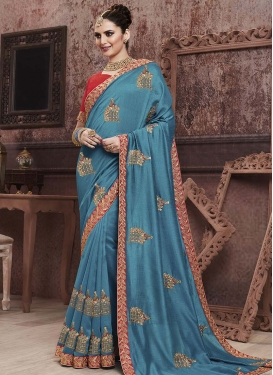 Light Blue and Red Embroidered Work Designer Traditional Saree