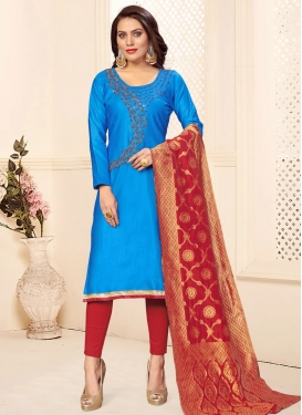 Light Blue and Red Pant Style Classic Salwar Suit For Casual