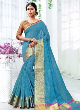 Light Blue and Red Trendy Classic Saree For Ceremonial
