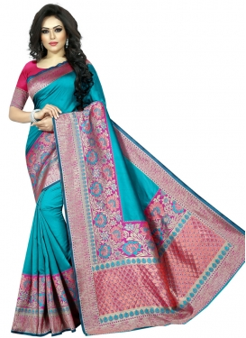 Light Blue and Rose Pink Art Silk Contemporary Style Saree