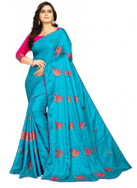 Light Blue and Rose Pink Embroidered Work Traditional Saree