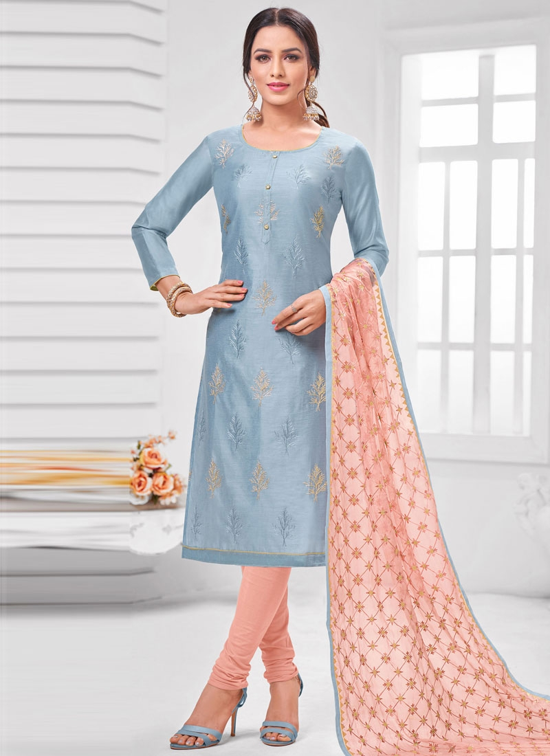 Light Blue and Salmon Trendy Churidar Suit