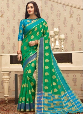 Light Blue and Sea Green Woven Work Trendy Classic Saree