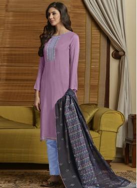 Light Blue and Violet Pant Style Salwar Kameez For Ceremonial