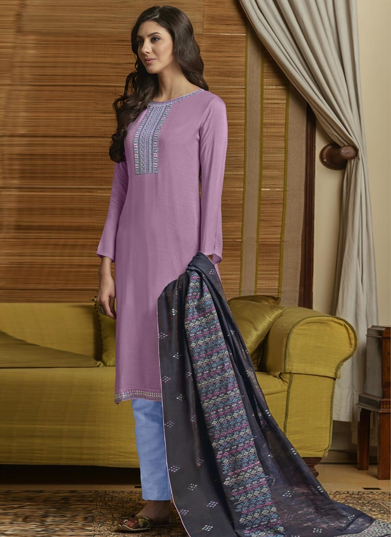 Light Blue and Violet Pant Style Salwar Kameez For Ceremonial