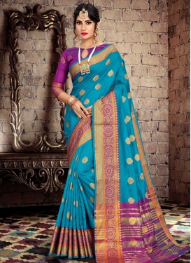 Light Blue and Violet Trendy Saree