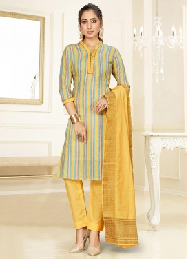 Light Blue and Yellow Pant Style Straight Salwar Suit