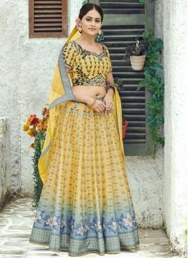Light Blue and Yellow Silk Trendy Lehenga Choli