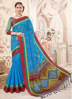 Light Blue Art Silk Classic Saree