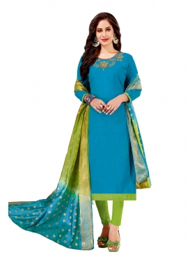 Light Blue Cotton Festival Churidar Designer Suit