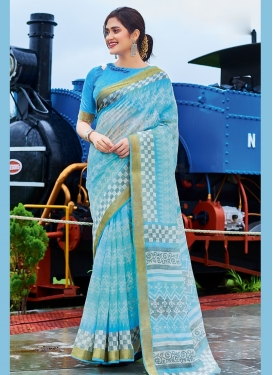 Light Blue Cotton Festival Printed Saree