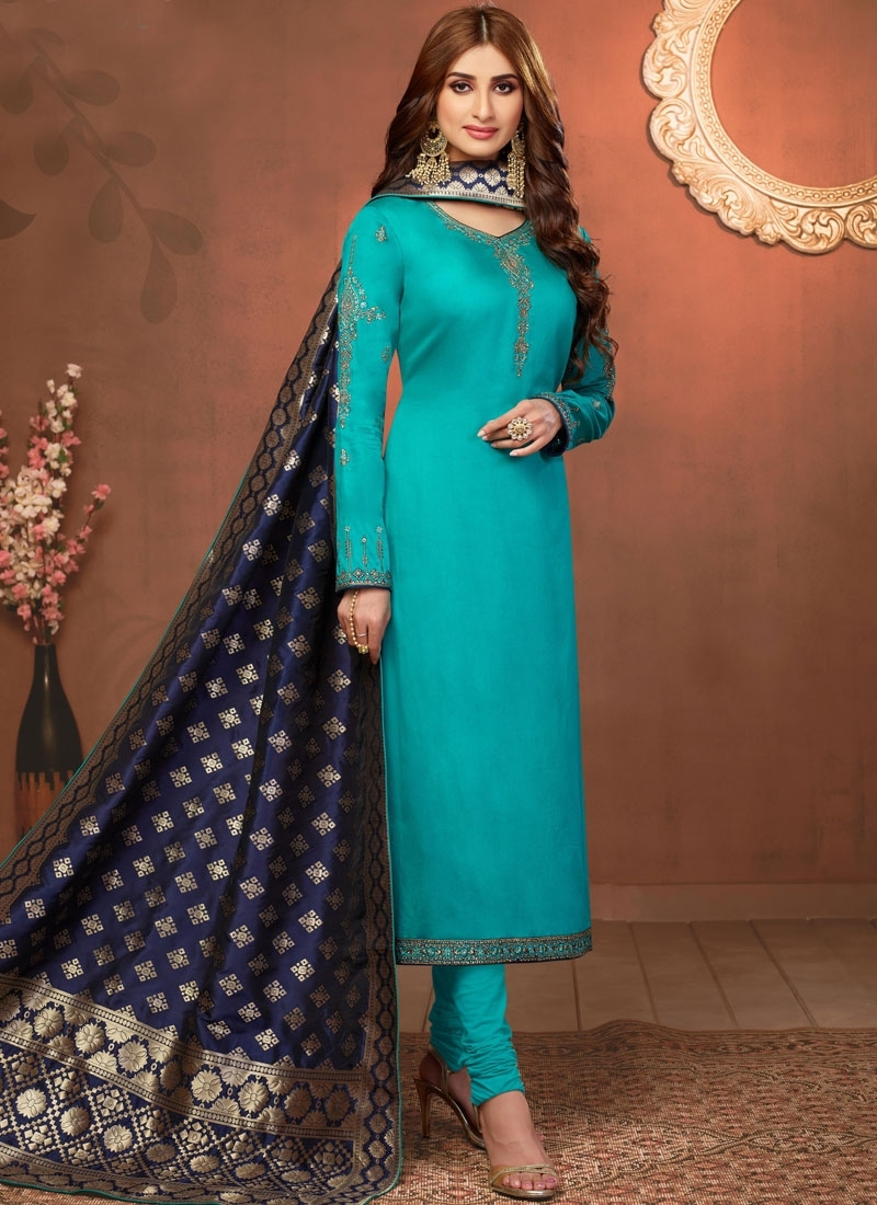 Light Blue Embroidered Churidar Suit