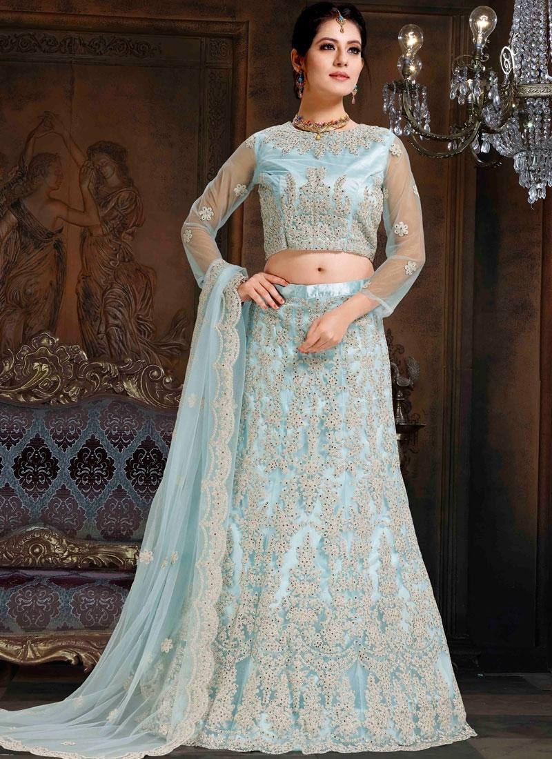 Light Blue Net Mehndi Lehenga Choli