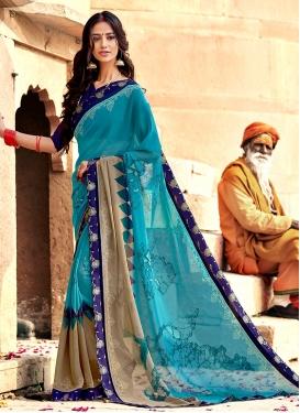 Light Blue Printed Trendy Saree