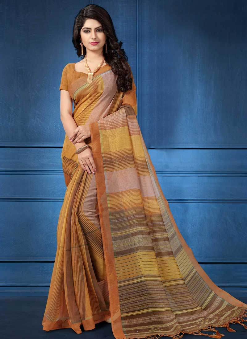 Linen Beige and Gold Designer Contemporary Style Saree
