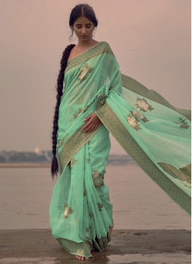 Linen Contemporary Style Saree For Festival