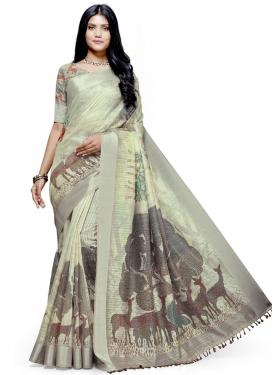 Linen Designer Contemporary Saree For Casual