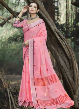 Linen Designer Contemporary Style Saree For Casual