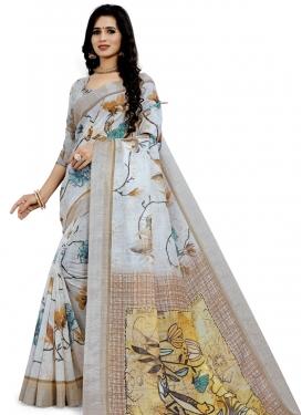 Linen Digital Print Work Classic Saree