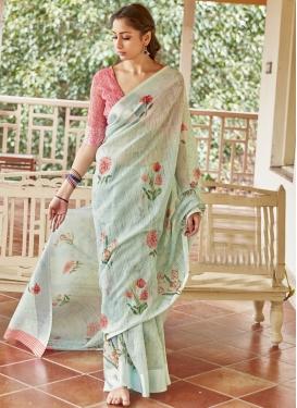Linen Digital Print Work Designer Traditional Saree