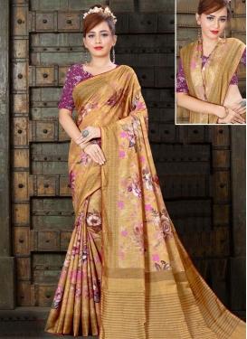 Linen Digital Print Work Traditional Designer Saree