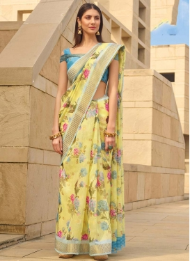 Linen Digital Print Work Trendy Classic Saree