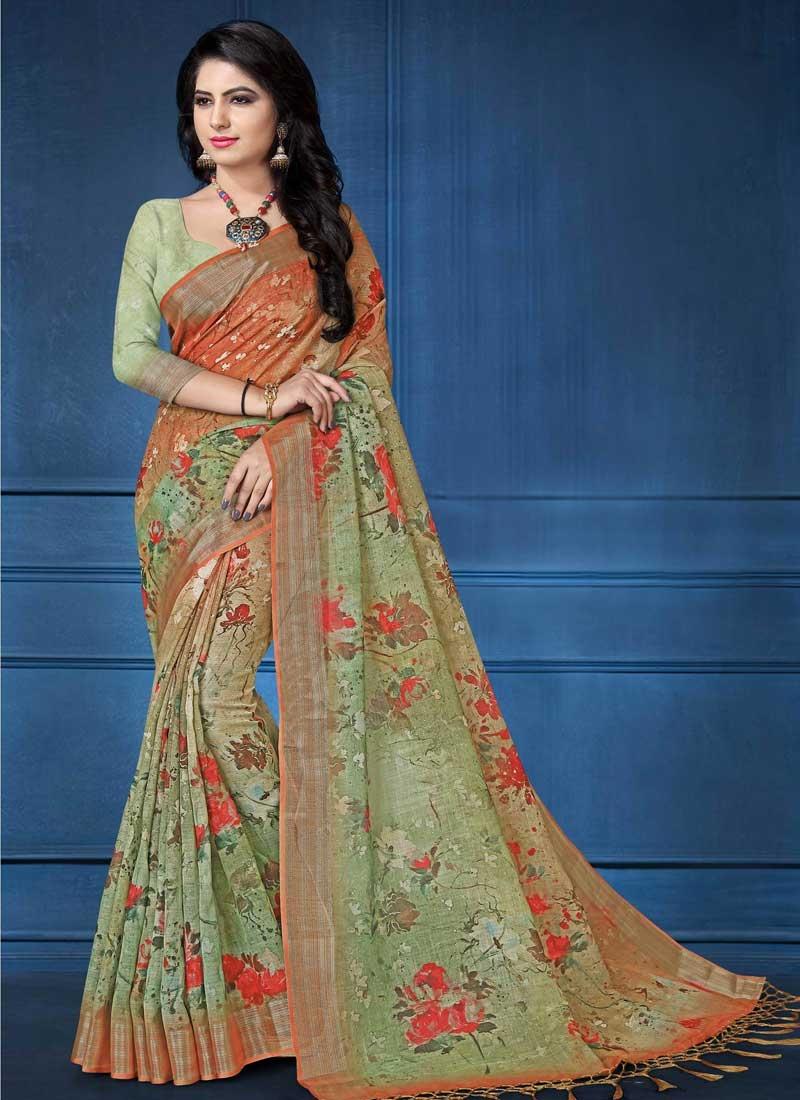 Linen Orange and Sea Green Designer Contemporary Saree