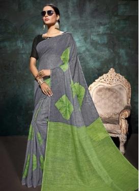 Linen Print Work Classic Saree