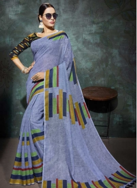 Linen Print Work Contemporary Style Saree