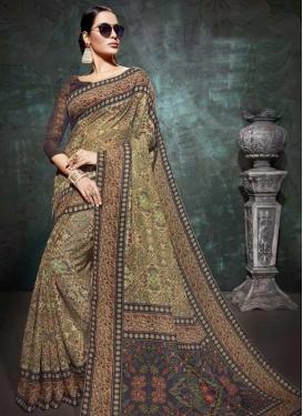Linen Print Work Designer Contemporary Style Saree