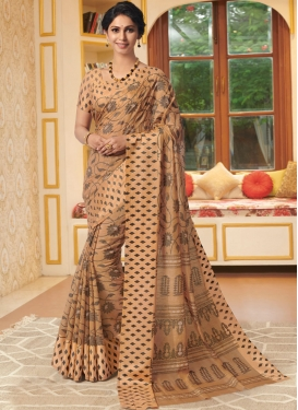 Linen Printed Beige Traditional Saree