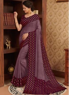 Linen Printed Traditional Designer Saree in Purple
