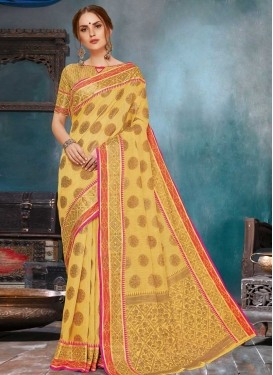 Linen Woven Work Contemporary Style Saree