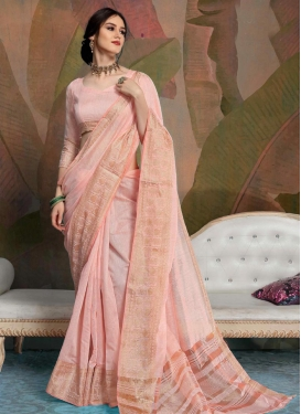 Linen Woven Work Designer Contemporary Style Saree