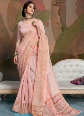 Linen Woven Work Designer Contemporary Style Saree
