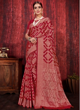 Linen Woven Work Trendy Classic Saree
