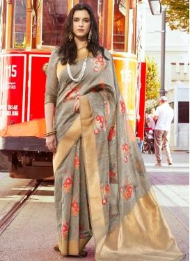 Linen Woven Work Trendy Classic Saree
