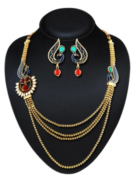 Lordly Gold Rodium Polish Stone Work Brass Necklace Set