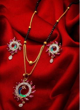 Lovely Black and Rose Pink Beads Work Mangalsutra Set