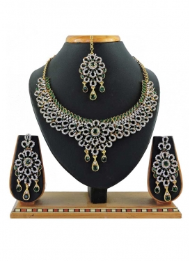 Lovely Bottle Green and White Alloy Necklace Set For Festival