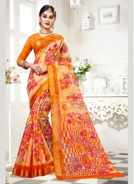 Lovely Cotton Silk Abstract Print Multi Colour Traditional Saree