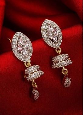 Lovely Stone Work Gold Rodium Polish Earrings