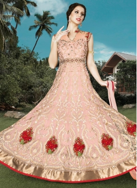 Lustre Booti Work Long Length Anarkali Suit