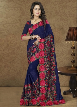 Lustre Faux Georgette Contemporary Style Saree For Ceremonial